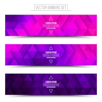 Abstract vector digital internet technology banners set. pink purple