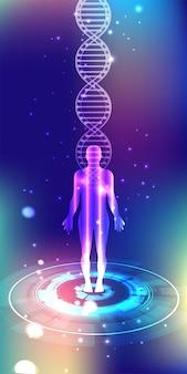 의학 또는 건강 관리에 좋은 인간과 추상적 인 벡터 dna 구조