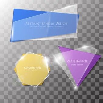 Abstract vector glass banner ser.