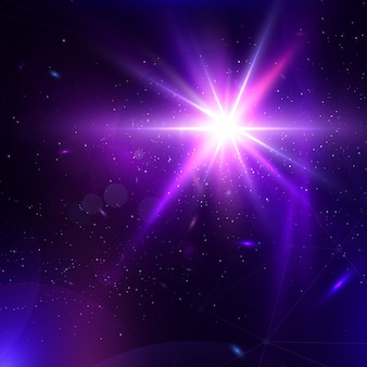 Abstract vector glowing background. lens flare fantastic design.
