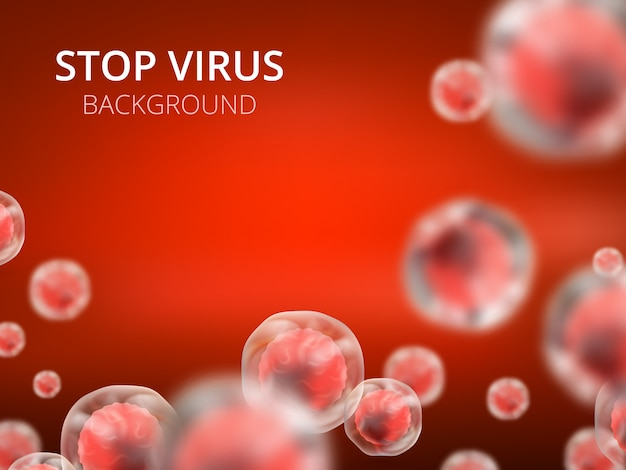 Abstract vector healthcare background with cells and viruses. biology medical science concept