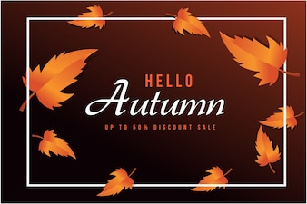 Abstract Vector Illustration Autumn Sale Background with Autumn Leaves for shopping sale
