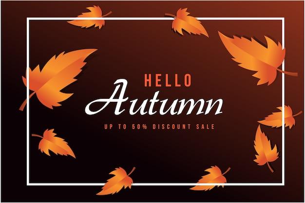 Абстрактная векторная иллюстрация осенняя распродажа фон с осенними листьями для покупок
