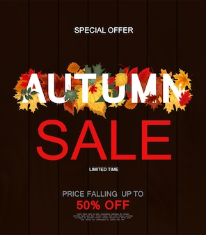 Abstract vector illustration autumn sale background with falling autumn leaves