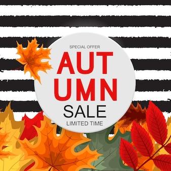 抽象的なベクトル図秋のセールの背景と秋の紅葉