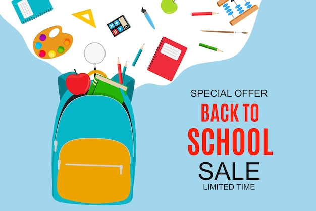 Abstract vector illustration back to school sale background