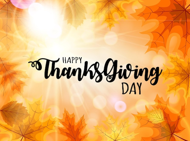 Abstract vector illustration happy thanksgiving day background with falling autumn leaves