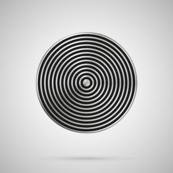 抽象的なベクトルイラストポリゴンラウンドストライプ空白の金属ボタンテンプレート