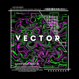 Абстрактные векторные иллюстрации с доминирующими зелеными и розовыми цветами для флаера с футболкой и многого другого