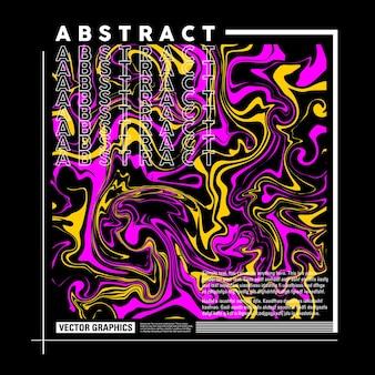 Tシャツのポスターチラシなどのピンクと黄色の流体ペイントと抽象的なベクトル図