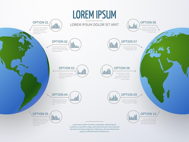 Abstract vector infographic with globe, diagrams, charts and options