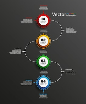 Abstract vector infographics number options template with 4 steps