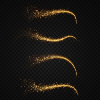光の金色の線の抽象的なベクトル光の効果