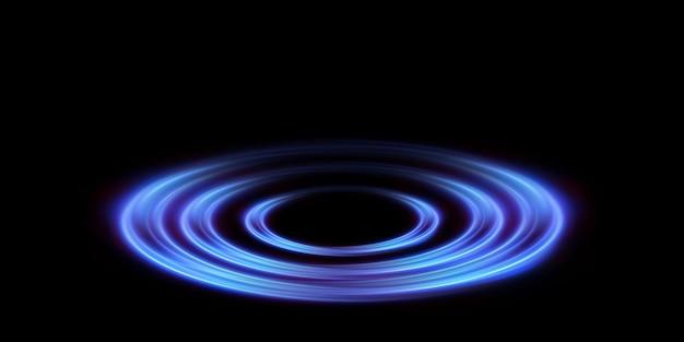 Абстрактные векторные легкие неоновые линии, закрученные по спирали