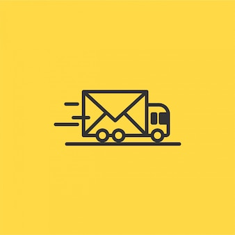 Abstract vector line delivery car icon with an envelope