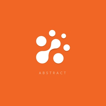 Abstract vector logo white dots on orange background unusual circles logotype template computer chip