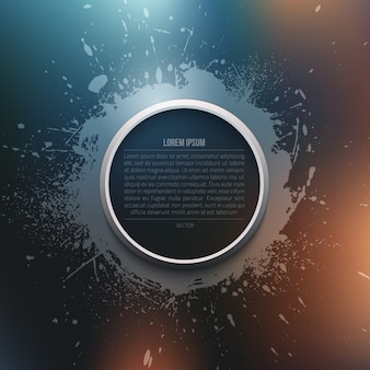 Abstract vector modern grunge background with circle frame template