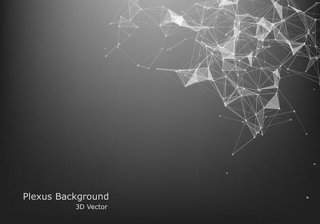 抽象的なベクトルの粒子と線。神経叢効果。未来的なイラスト。多角形のサイバー構造。データ接続の概念。