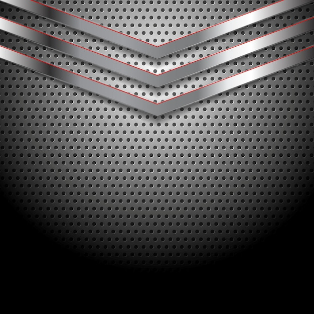Abstract vector perforated metallic background with arrows