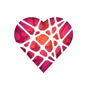 추상적인 벡터 다각형 심장 추상적인 현대 기하학적 디자인 서식 파일