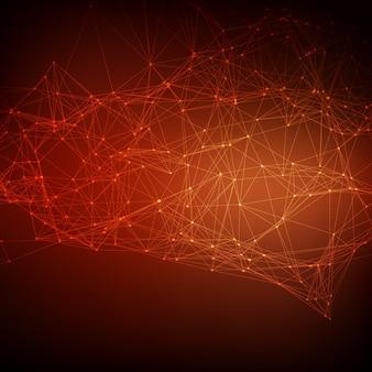 Абстрактные векторные красный фон сетки. хаотически связанные точки и многоугольники, летящие в пространстве. летающие обломки. футуристическая карта стиля стиля. линии, точки, круги и плоскости. футуристический дизайн.
