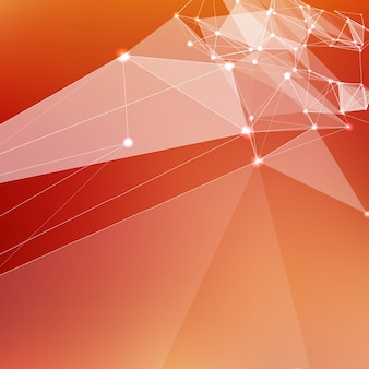 Abstract vector red mesh background. chaotically connected points and polygons flying in space. flying debris. futuristic technology style card. lines, points, circles and planes. futuristic design.