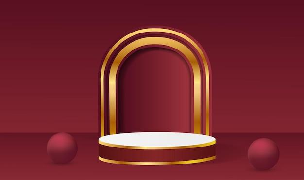 コピースペースで製品を配置するための3d形状をレンダリングする抽象的なベクトル。幾何学的な背景を持つモダンな赤と金の丸い表彰台