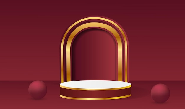 Abstract vector rendering 3d shape for placing the product with copy space. modern red and gold round podium with geometric background