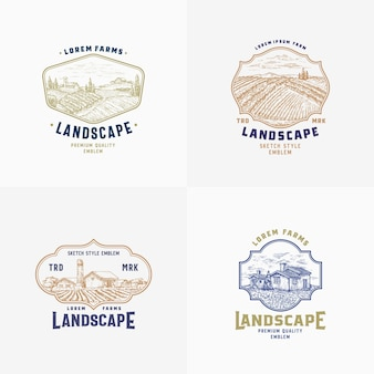 Абстрактные векторные сельские фермы знаки, значки или набор шаблонов логотипов