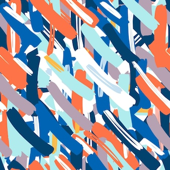 Абстрактный вектор бесшовные модели. творческий фон с геометрическими фигурами. прикольные обои под текстиль и ткань. модный стиль. красочный яркий.