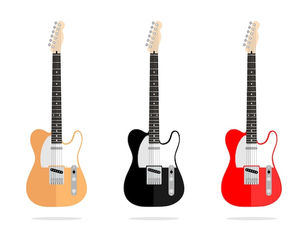 Abstract vector vintage flat design guitar collection isolated