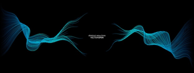 Abstract vector wav lines green and blue colors isolated on black backgrounds.