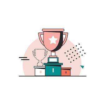 Абстрактные векторные победитель трофей значок плоская тонкая линия знак веб-дизайн бизнес значок награды