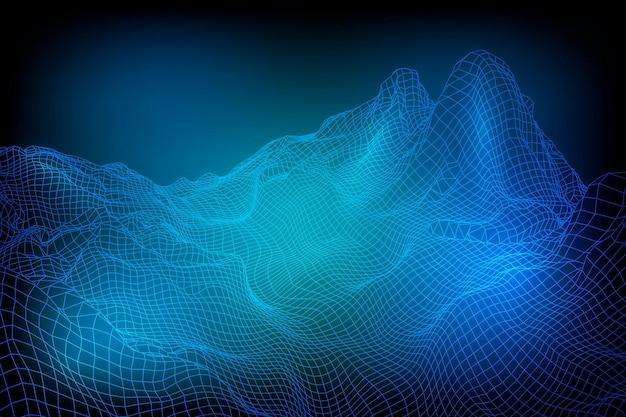 抽象的なベクトルワイヤーフレーム風景の背景。 3dの未来的なメッシュの山。 80年代のレトロなイラスト。サイバースペーステクノロジーの谷。