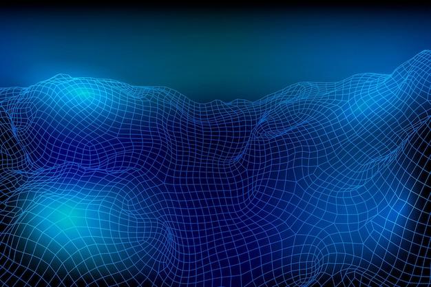 抽象的なベクトルワイヤーフレーム風景背景d未来的なメッシュ山のレトロなイラストcybe ...
