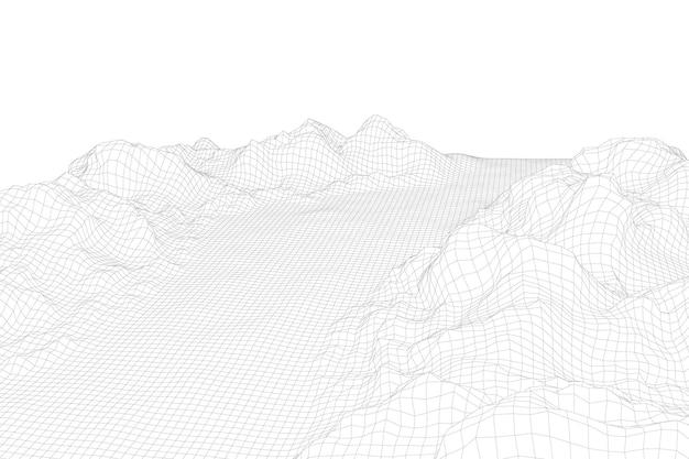 抽象的なベクトルワイヤーフレームの風景