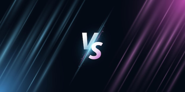 Abstract versus background. vs letters on the screen with rays for sport games, match, tournament, e-sports competitions, martial arts, fight battles. game concept. vector illustration