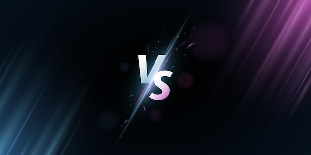 Abstract versus screen. vs letters on a background with rays for sport games, match, tournament, e-sports competitions, martial arts, fight battles. game concept. vector illustration