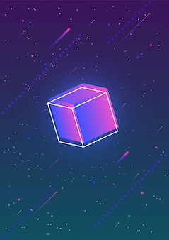 Abstract vertical backdrop with glowing gradient colored cube and its outline against gorgeous night sky