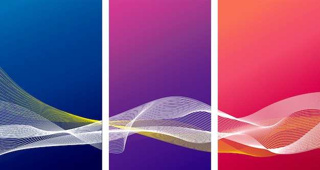 Abstract vertical background design of color with line wave set