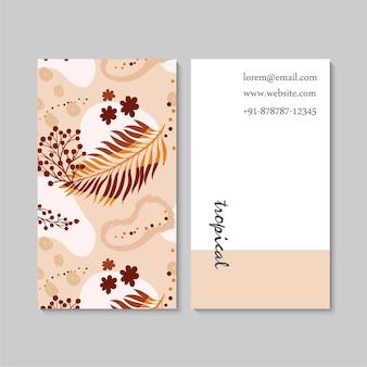 Абстрактный вертикальный шаблон визитной карточки с цветочным декором