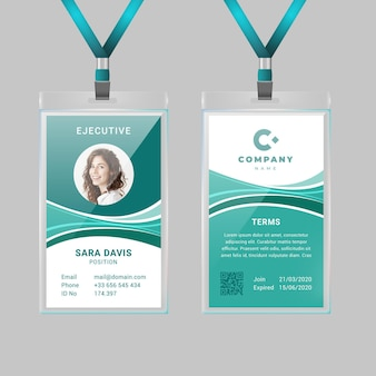 Abstract vertical id card template with photo