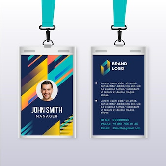 Abstract vertical id card template