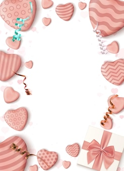 Abstract vertical poster design template with realistic candy hearts blue bow, ribbons and a gift box on white background.