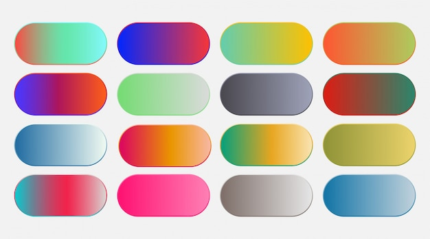 Abstract vibrant colorful gradient swatches set