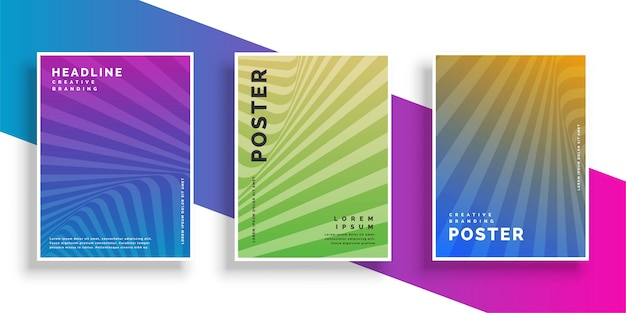 Abstract vibrant line rays flyer brochure design set