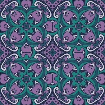 抽象的なビクトリア朝のタイルヴィンテージ民族シームレスベクトルパターン装飾