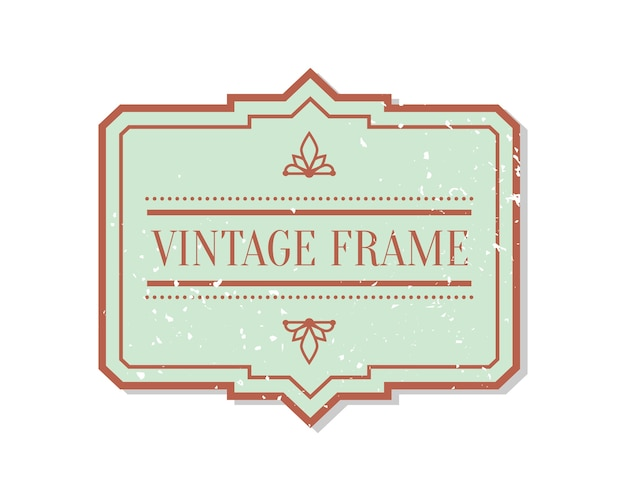 Abstract vintage closeup flat label with grunge decorative element. package sticker frame text template.