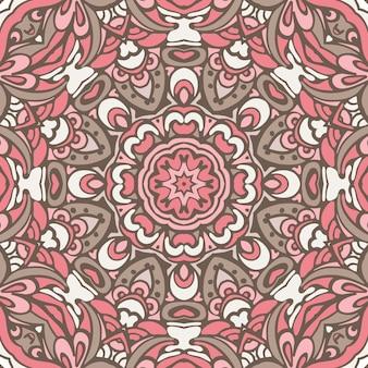 抽象的なヴィンテージ民族のシームレスな装飾的な背景のテクスチャ。部族芸術のシームレスなパターン。エスニックな幾何学模様。生地、布のデザイン、壁紙、ラッピング
