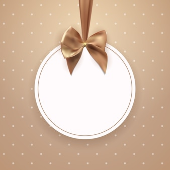 Abstract vintage frame with bow and ribbon